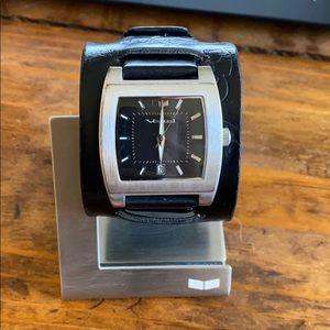 Men's Black Leather Vestal Watch